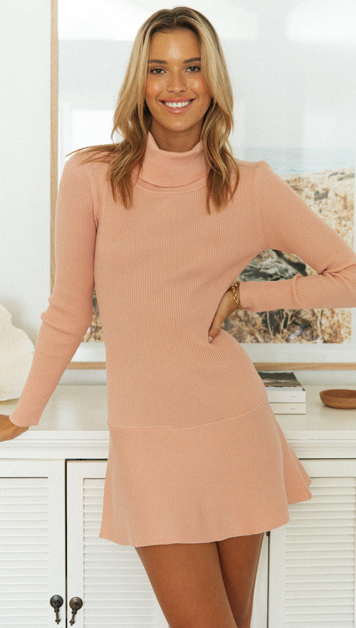 Indira Knit Dress (Peach)
