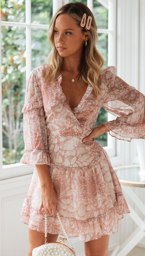 Sweet Peony Dress (Nude Floral)