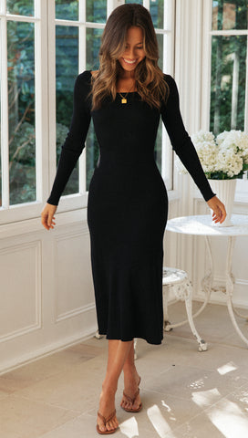 Estella Midi Dress (Black)