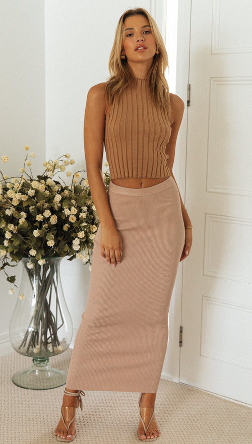 Taneisha Maxi Skirt (Light Tan)