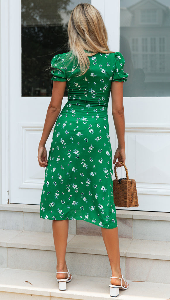Empire Dress (Green & White Floral)