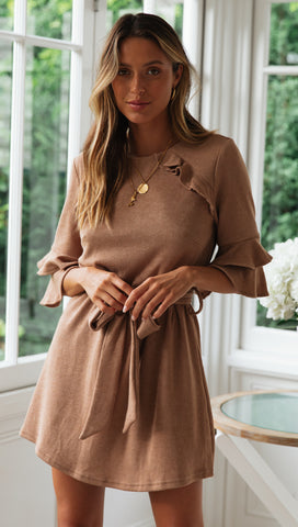 Karla Mini Dress (Mocha)