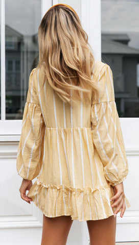 Elyse Dress (Yellow White Stripe)