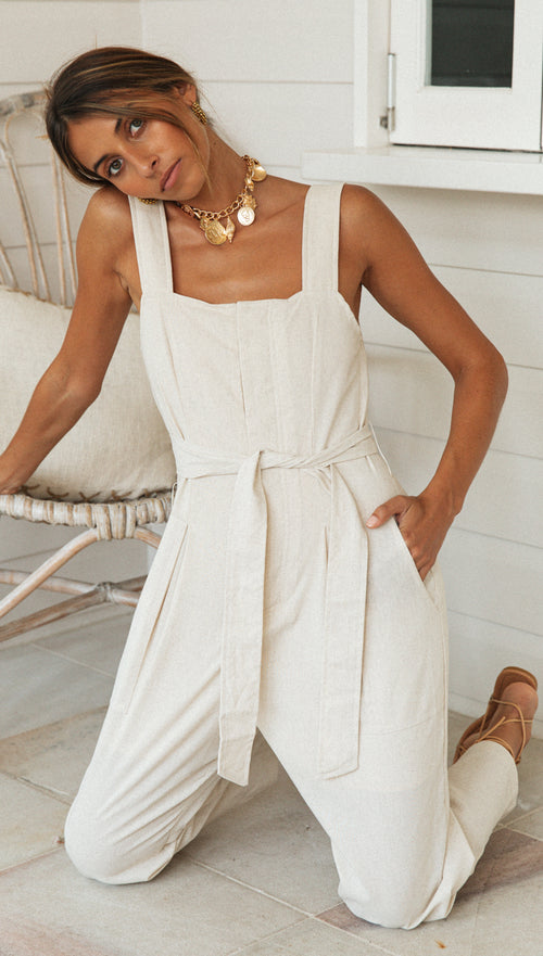 Jovana Jumpsuit (Sand) (Sample Sale)