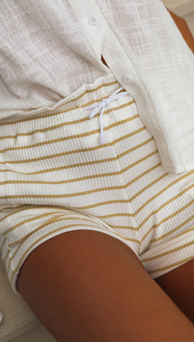 Bailey Ribbed Shorts (Yellow Stripe)