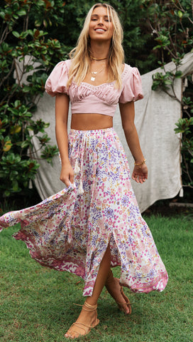 Vienna Skirt (Pink and Purple Floral)