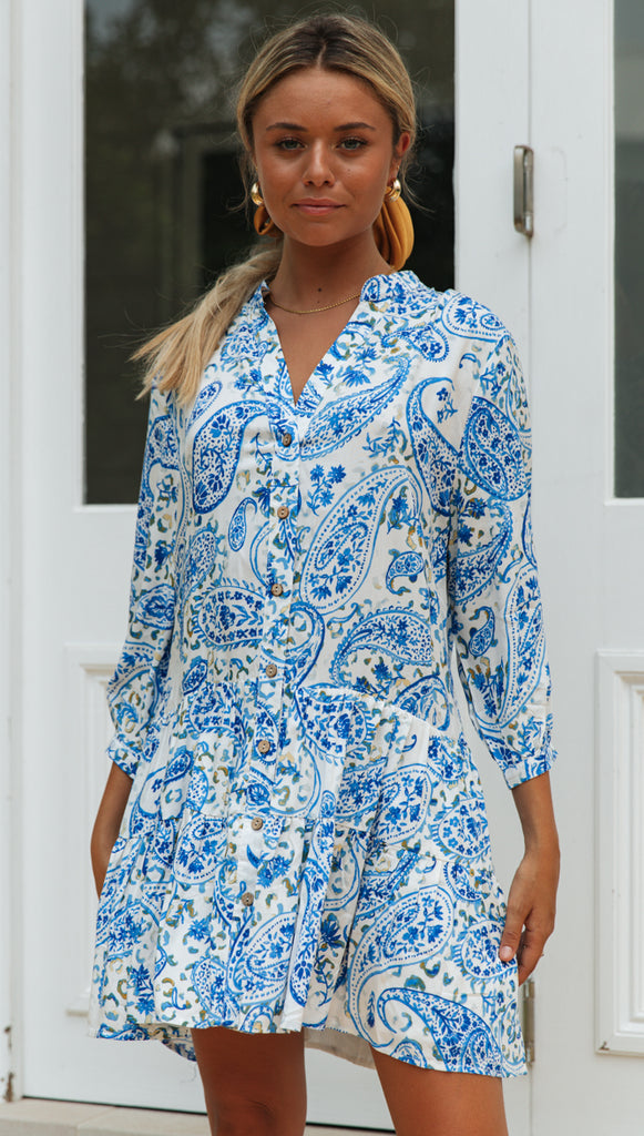 Maywood Dress (White & Blue Floral)