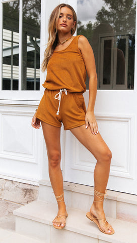 Palm Beach Playsuit (Dark Mustard)