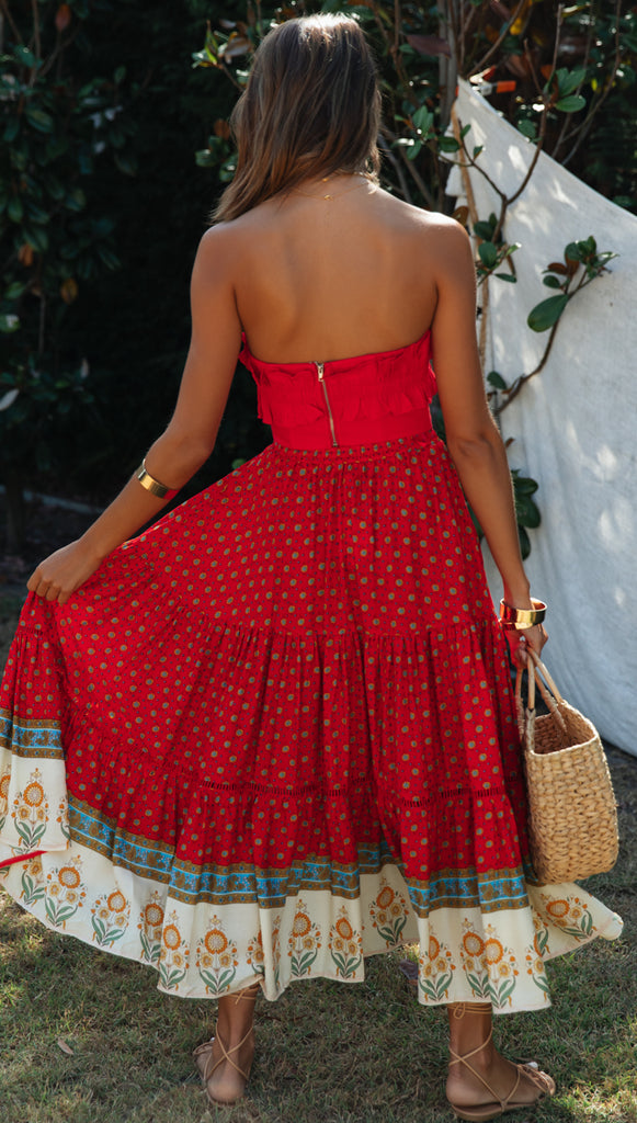 Amaya Skirt (Red Floral)