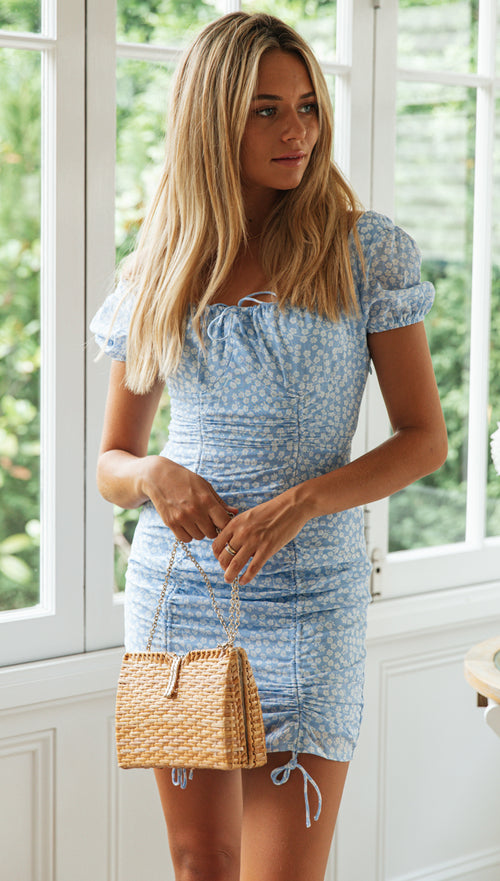 Donatella Dress (Baby Blue Floral)