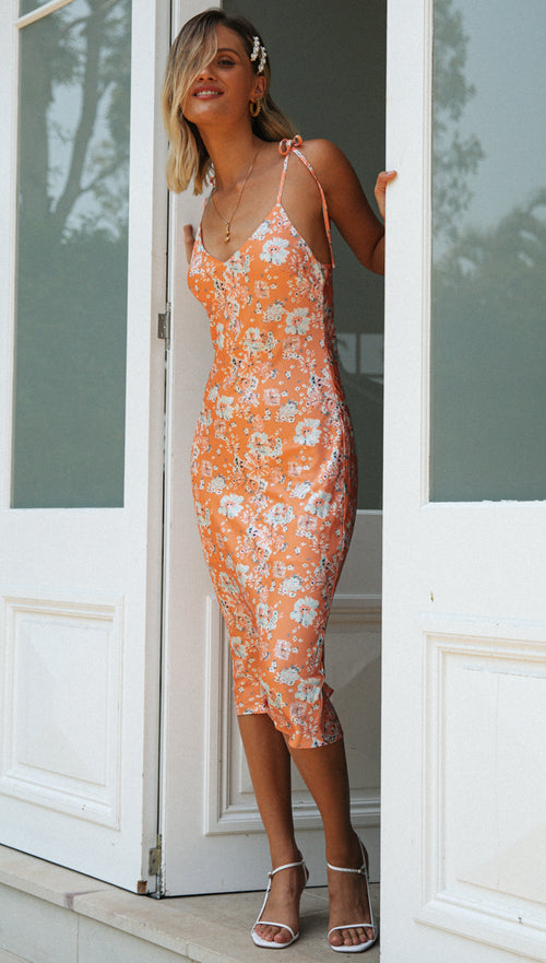 Alessandra Dress (Orange Floral)