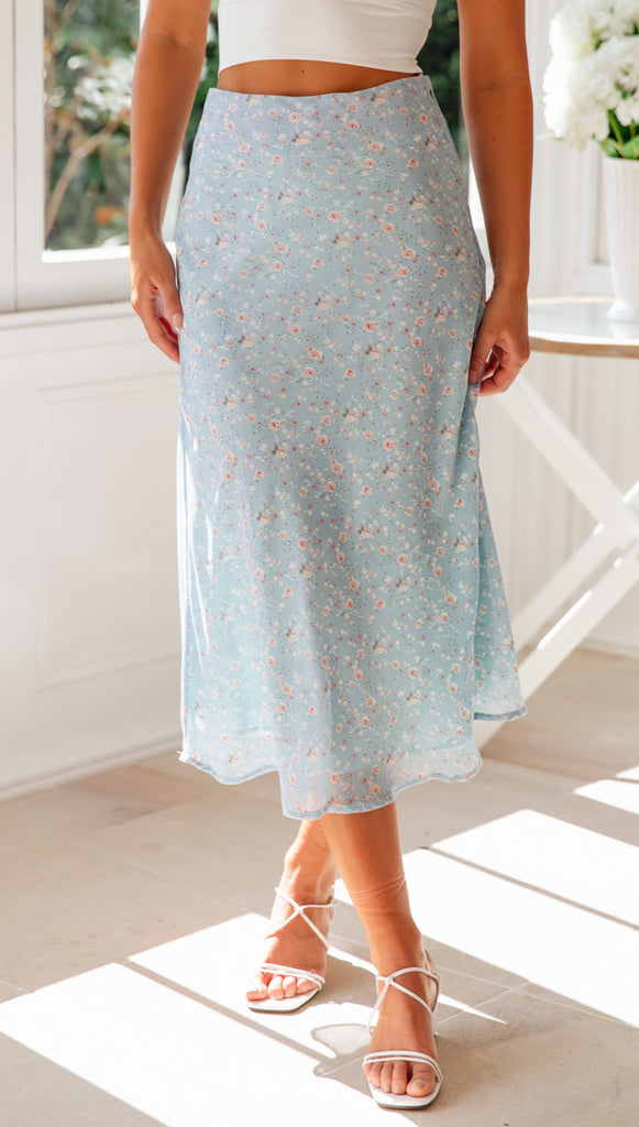 On A Roll Skirt (Blue Floral)