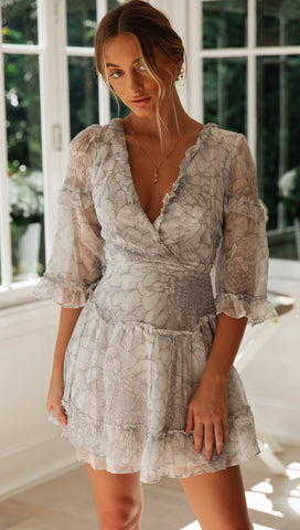 Sweet Peony Dress (Grey Floral)