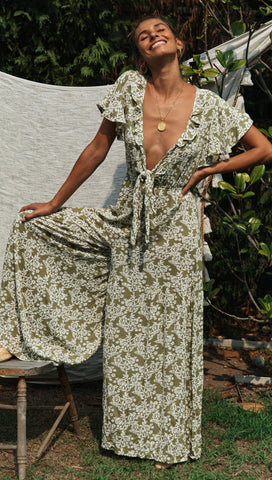 Virgo Jumpsuit (Khaki & White)