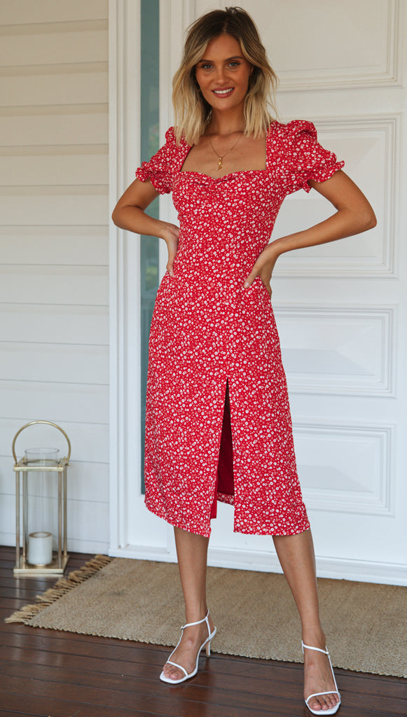 Empire Dress (Red Floral)