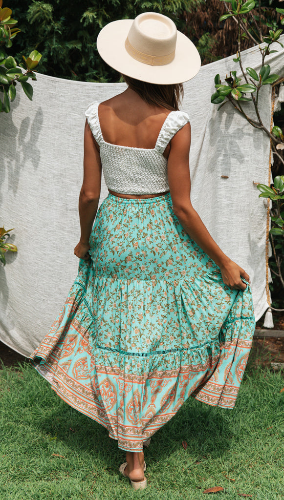 One Of The Dreamers Skirt (Teal & Peach)