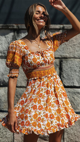 Bridgette Mini Dress (White & Orange Floral)