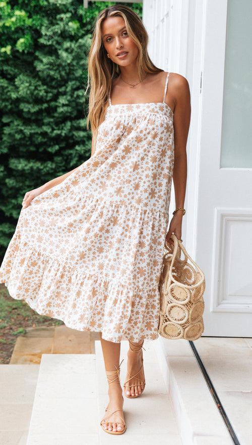 St Tropez Dress (White & Tan Floral)