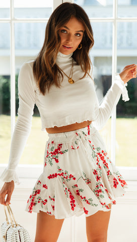 Hannah Frill Sleeve Top (White)