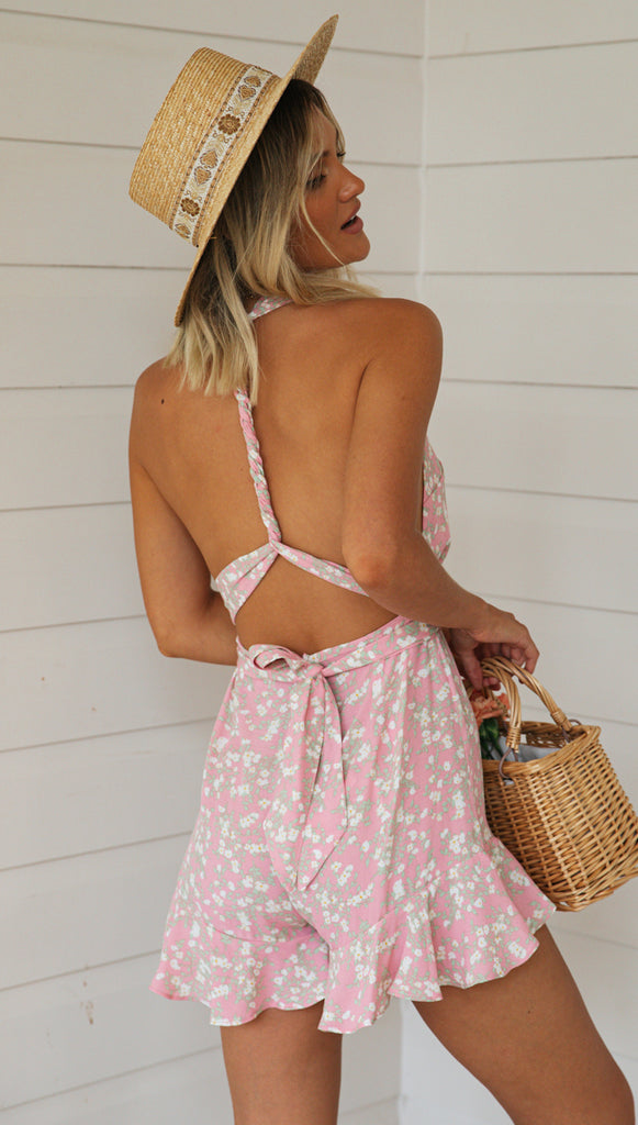 Brightside Playsuit (Pink Floral)