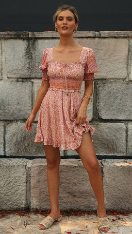 Bridgette Mini Dress (Beige & Pink Floral)