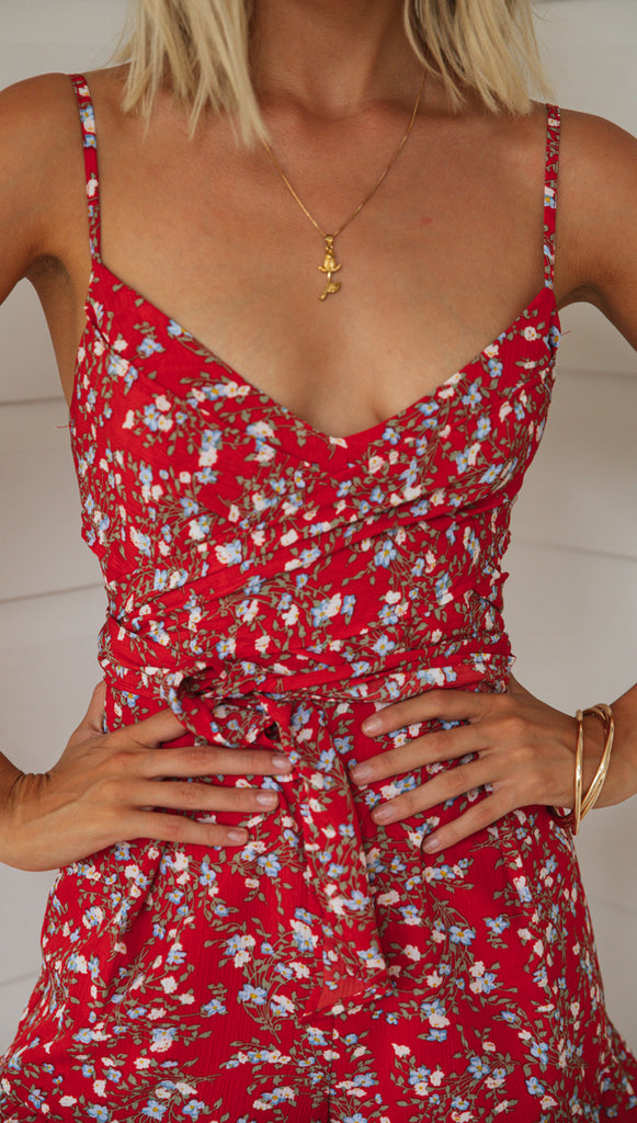 San Luis Playsuit (Red Floral)