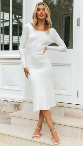 Estella Midi Dress (White)