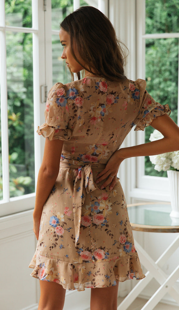 Nile Dress (Beige Floral)