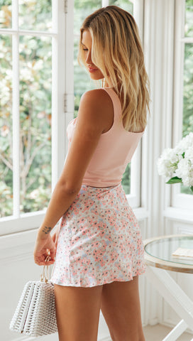 To The Sun Mini Skirt (Pink Floral)