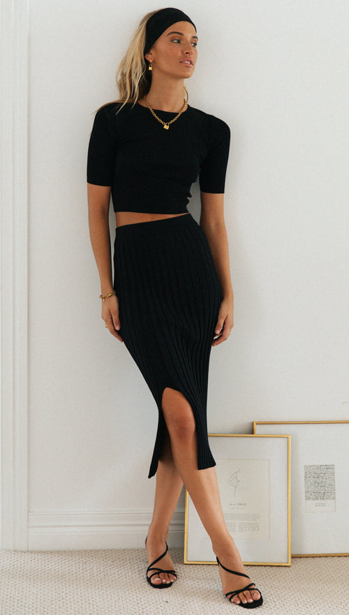 Jorgia Midi Skirt (Black)