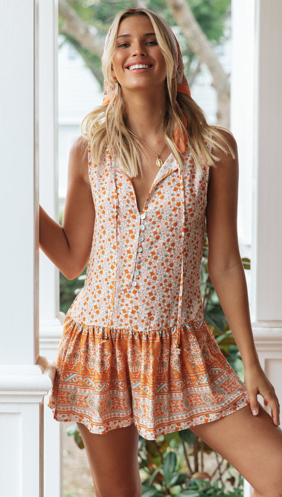 Clemente Playsuit (Orange Floral)