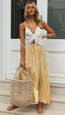 Verity Maxi Skirt (Yellow & White) Sample Sale