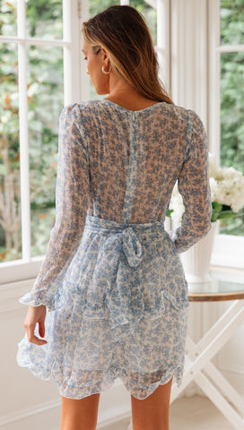 Lilou Dress (Blue Floral)