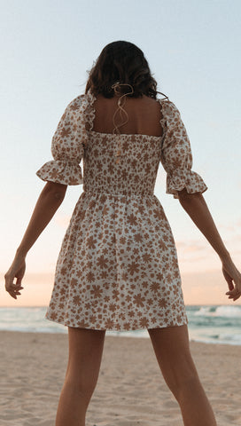Chateau Dress (Beige Floral)