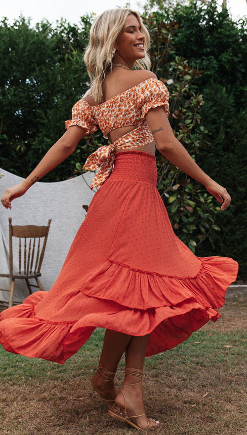 Tropez Maxi Skirt (Rust)