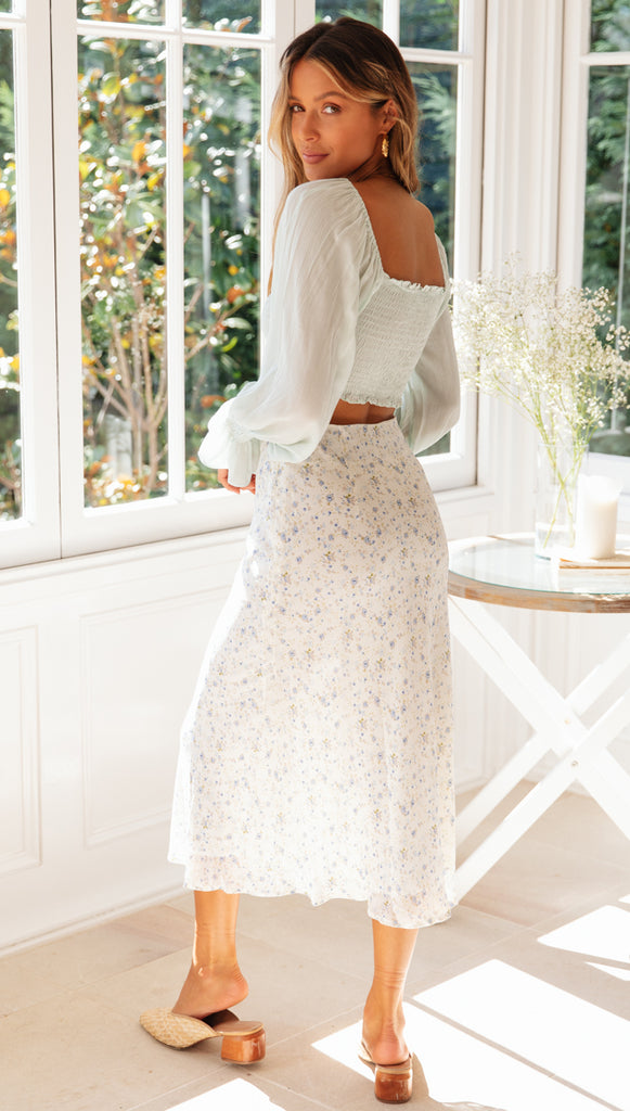 On A Roll Skirt (White Floral)