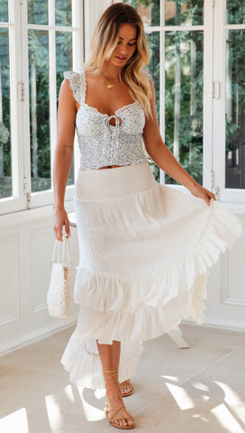 Tropez Maxi Skirt (White)