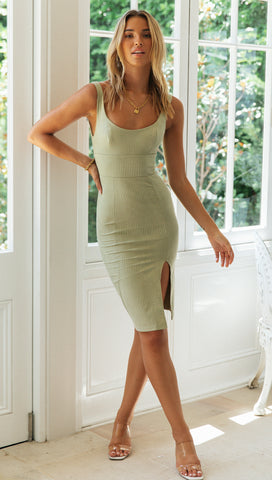 Vineyard Midi Dress (Olive)