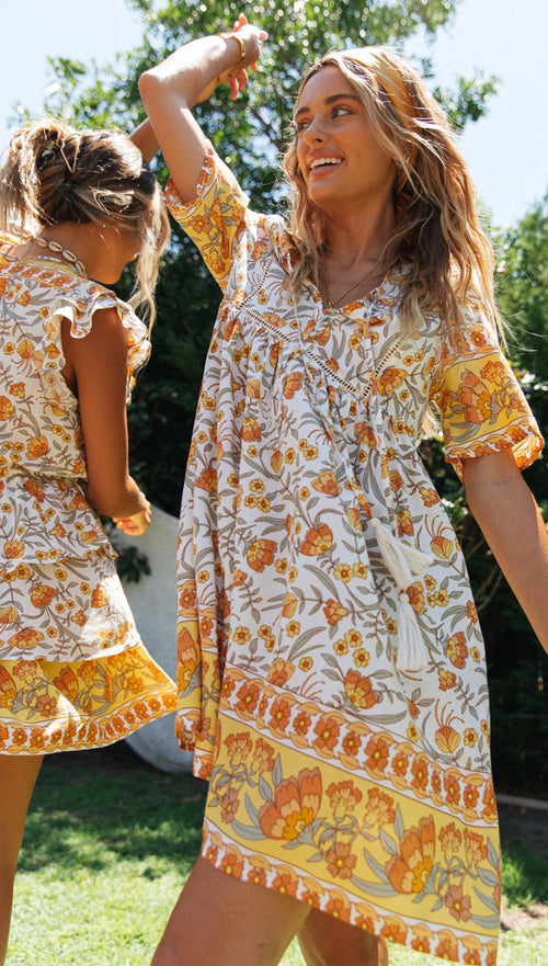 Cloverdale Dress (White, Yellow & Orange)