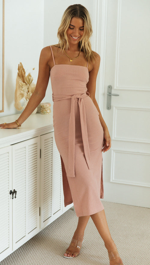 Sandie Midi Dress (Blush)
