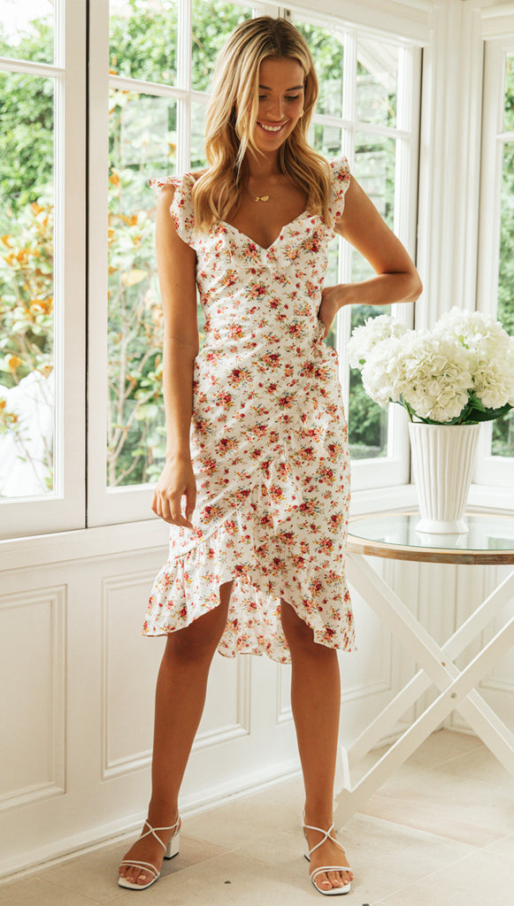 Carmen Midi Dress (White & Peach Floral)