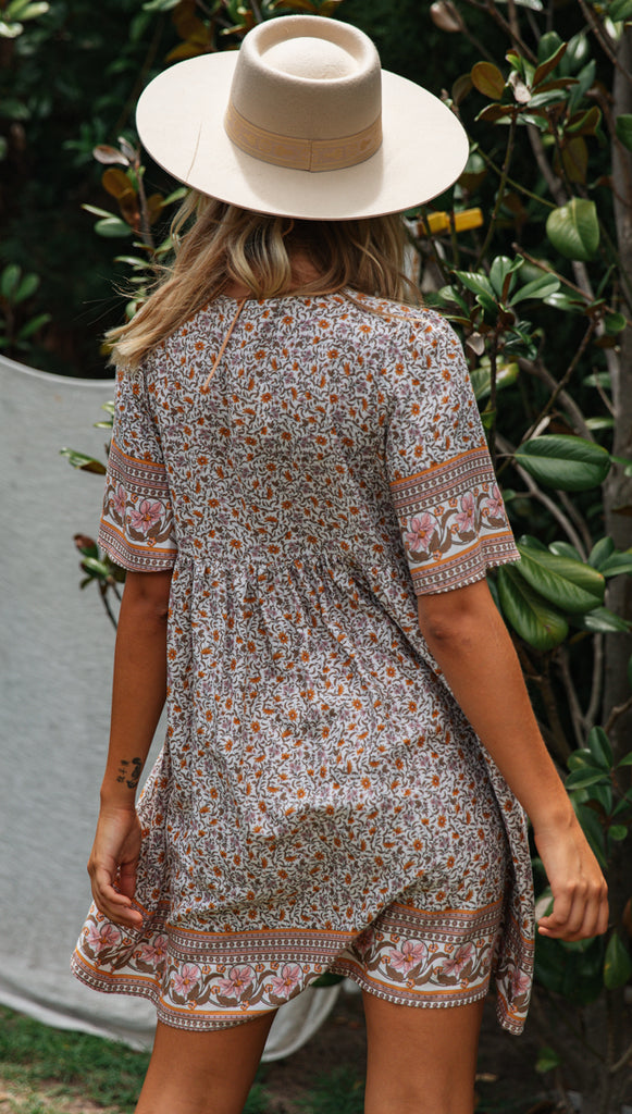 Cloverdale Dress (Brown & Peach)