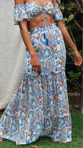 Kyra Maxi Skirt (Blue)