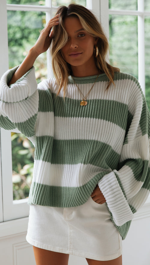 Dreams Knit Top (Green White Stripe)