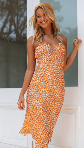 Christobel Dress (Orange Floral)
