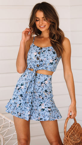 Camellia Crop Top (Blue Floral)
