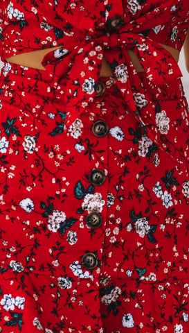 Camellia Crop Top (Red Floral)