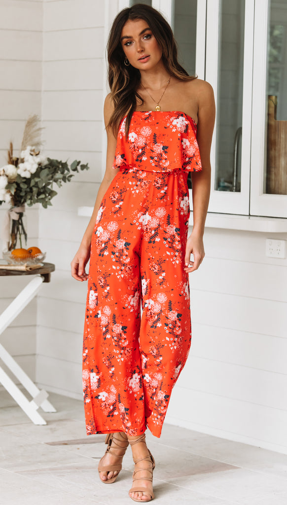 Sweet Tomorrow Jumpsuit (Red Floral)