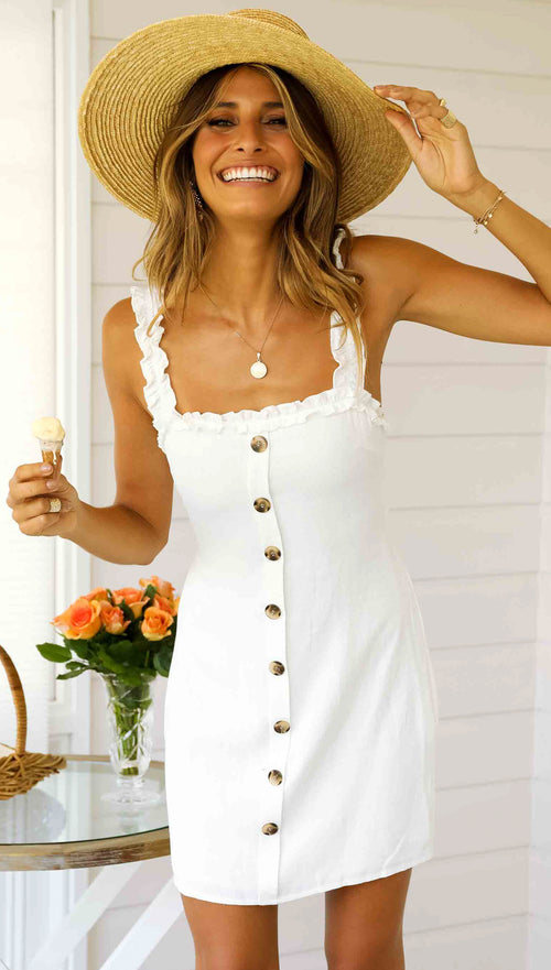 By the Cafe Dress (White)