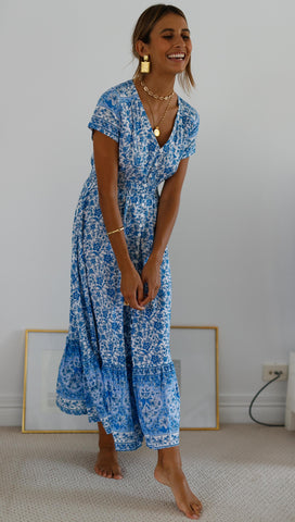 Rhapsody Maxi Dress (Blue & White)